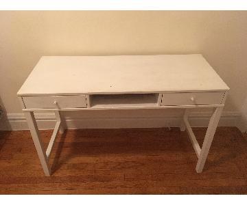 Mid Century Modern White Desk w/ 2 Drawers