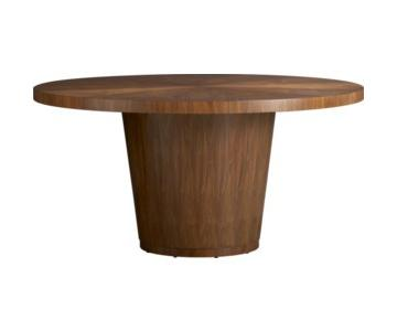 """Crate & Barrel Orion 60"""" Round Walnut Dining Table"""