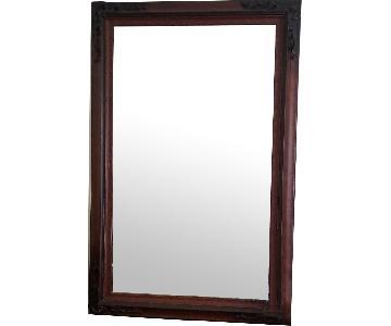 Burl Wood Frame Floor Mirror