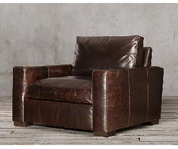 Restoration Hardware Custom Maxwell Leather Arm Chair