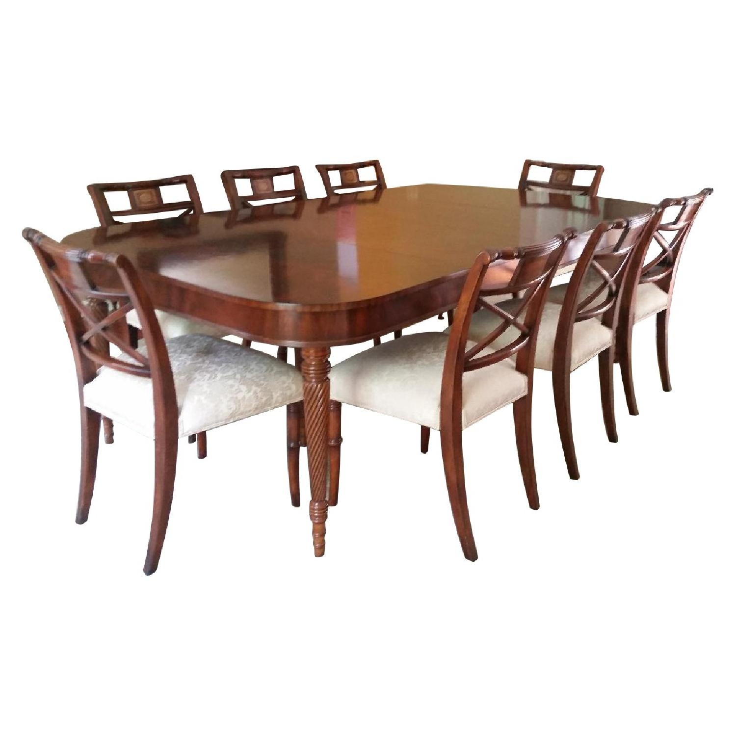 Maitland Smith Crotch Mahogany Dining Room Table W/ 8 Chairs ...