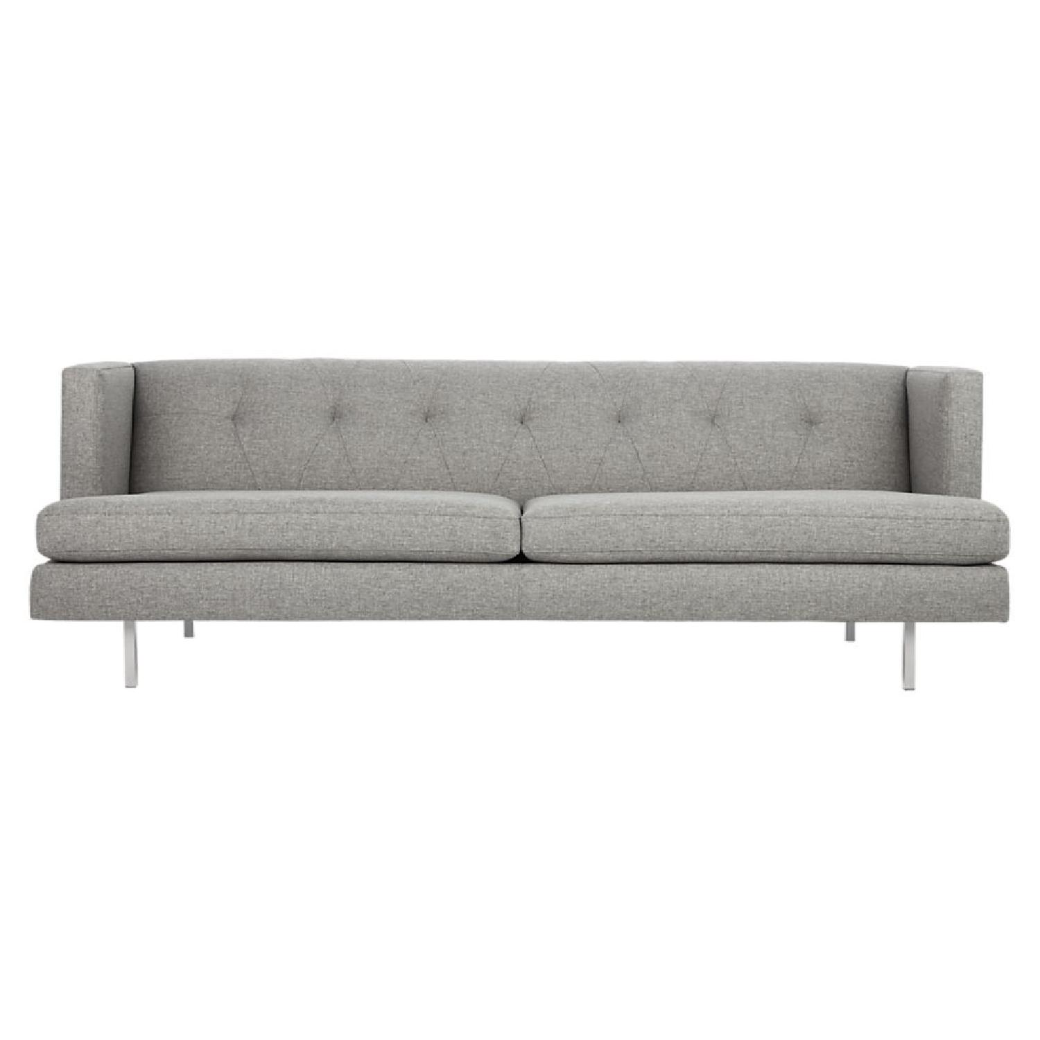 CB2 Avec Grey Sofa W/ Brushed Stainless Steel Legs ...