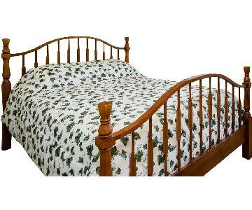 Honey Pine Queen Bed Frame