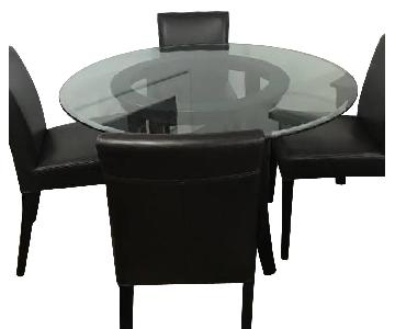 Crate & Barrel Halo Ebony Dining Table w/ 4 Leather Chairs