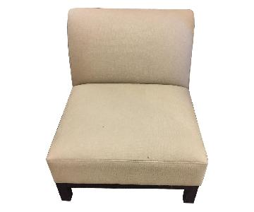 Crate & Barrel Armless Chair in Natural Linen Fabric