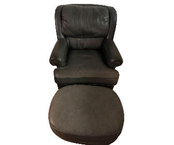Green Leather Arm Chair & Ottoman
