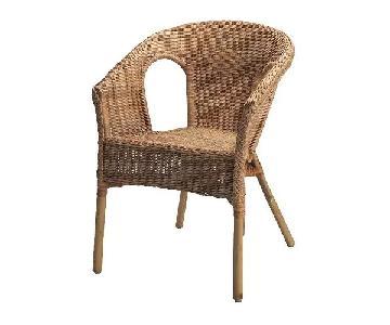 Ikea Agen Handwoven Bamboo Armchair w/ Cushions