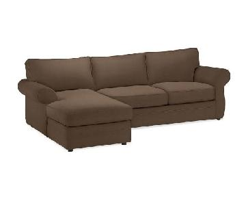 Pottery Barn 2-Piece Brown Suede Sectional Sofa