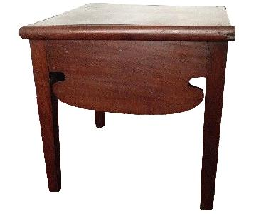 18th Century Antique Primitive Solid Walnut Wood Side Table