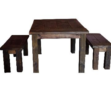 Farmhouse Furniture Dining Table w/ 2 Benches