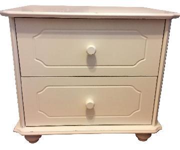White 2 Drawer Wood Nightstand