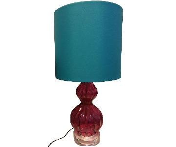 Table Lamp w/ Pink Base & Blue Shade