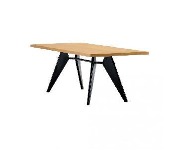 Vitra EM Prouve Dining Table Oak Top w/ Black Legs