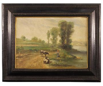 French Signed Bucolic Landscape Painting Oil On Canvas