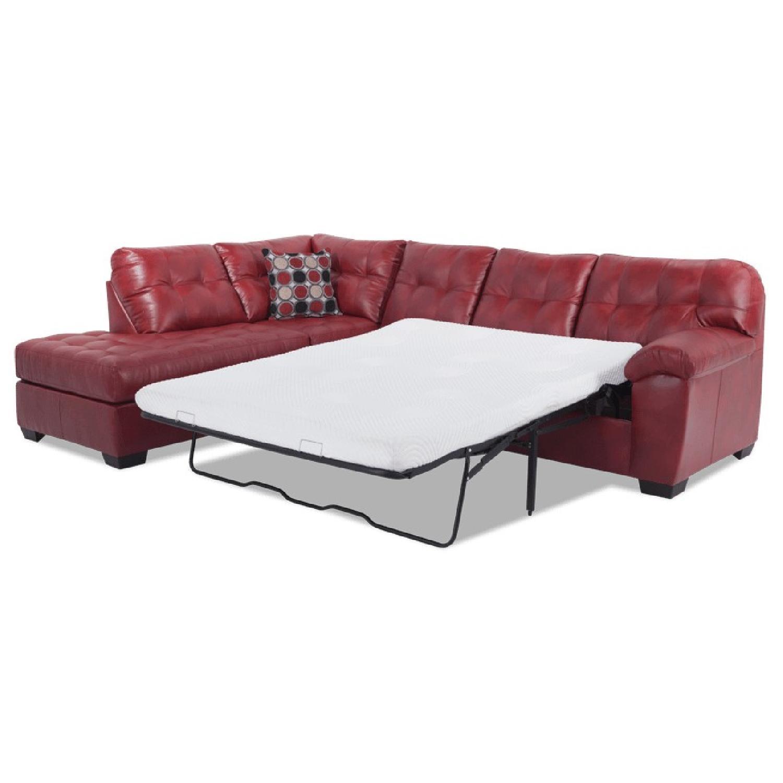 Bob S Mercury Faux Leather Sleeper Sectional Sofa Aptdeco