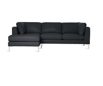 Design Within Reach Albert Black Leather Sectional Sofa