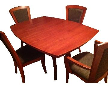 Cherry Wood 5-Piece Expandable Dining Set