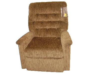 Apartment Size Recliner Chair in Taupe Fabric
