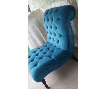 Tufted Accent Chair in Teal Chenille