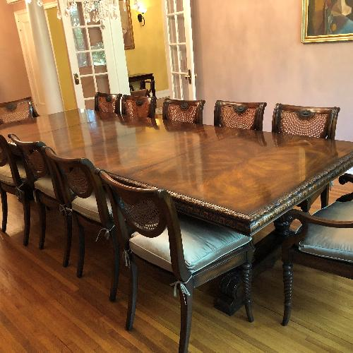 Used Theodore Alexander 13-Piece Dining Set for sale on AptDeco
