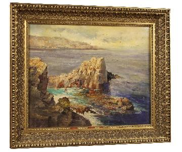 Italian Painting Seascape w/ Cliff Oil On Canvas