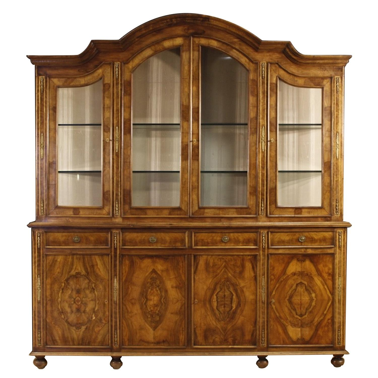 20th Century Italian Bookcase in Walnut & Burl Wood