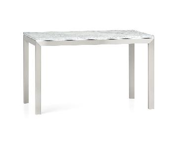 Crate & Barrel White Marble & Stainless Steel Dining Table