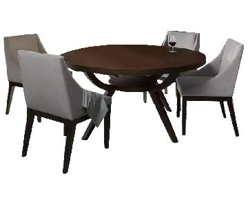 West Elm Arc Dining Table w/ 6 Curved Leather Chairs