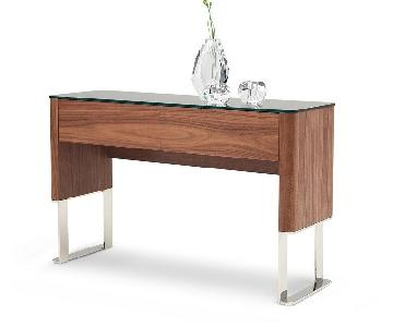 Modern Console Table in Walnut Finish w/ Black Glass Top