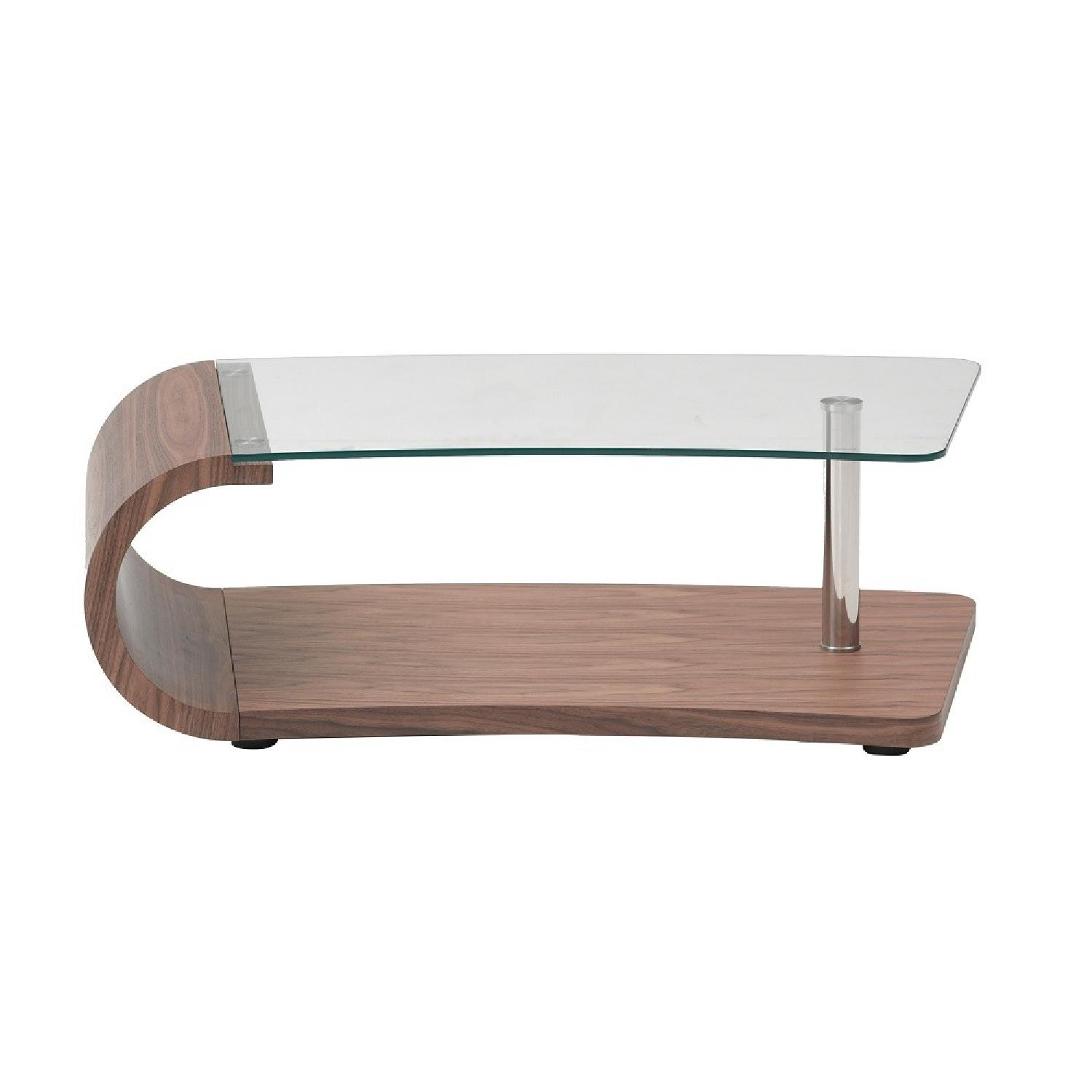 Modern Coffee Table in Walnut Finish w/ Tempered Glass Top