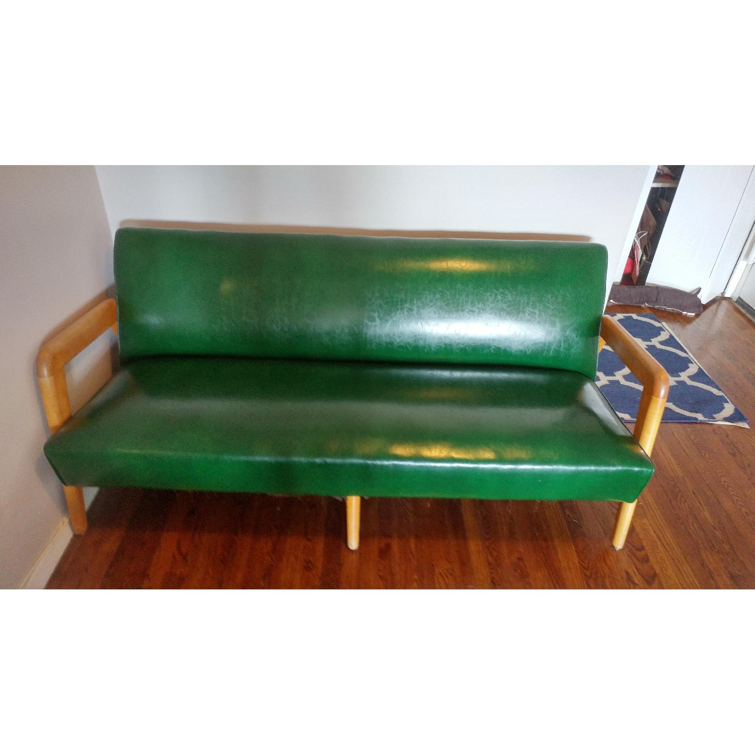 J.B. Van Sciver Co. Green Leather Couch + 2 Chairs - image-4