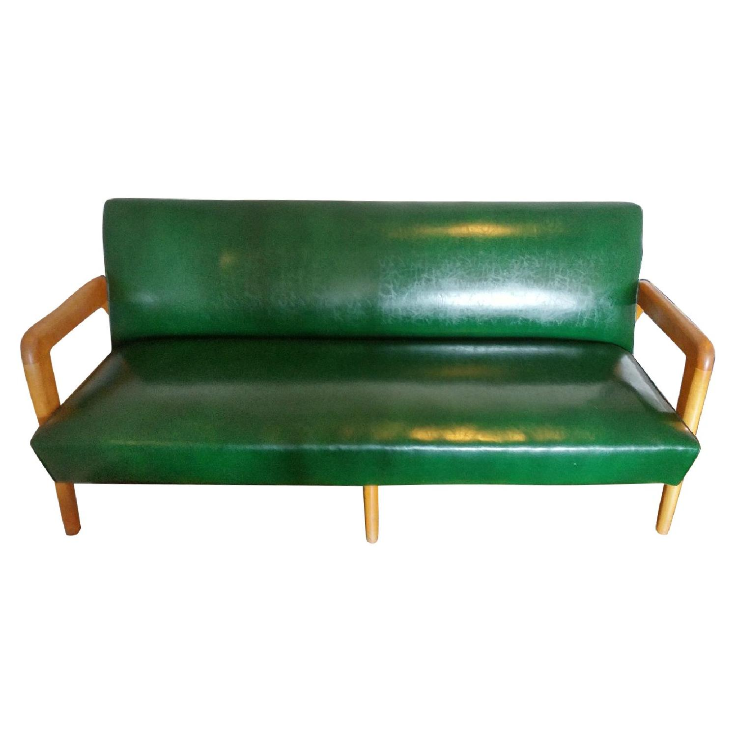 J.B. Van Sciver Co. Green Leather Couch + 2 Chairs - image-0