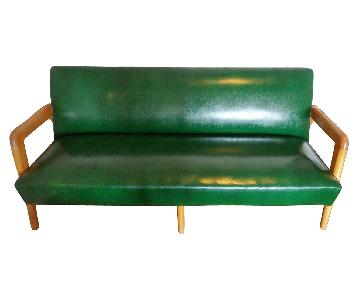 J.B. Van Sciver Co. Green Leather Couch + 2 Chairs