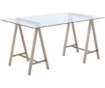 Sawhorse Writing Desk w/ Glass Top & Chocolate Chrome Legs