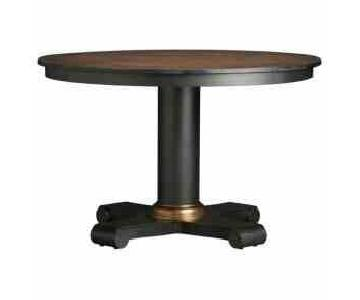 Crate & Barrel Collina Copper Top Round Dining Table
