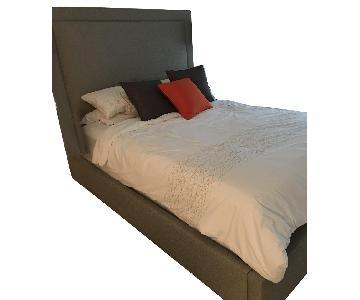 Custom Gray Linen Upholstered Queen Bed w/ Tall Headboard