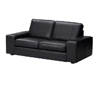 Ikea Kivik Black Leather Loveseat
