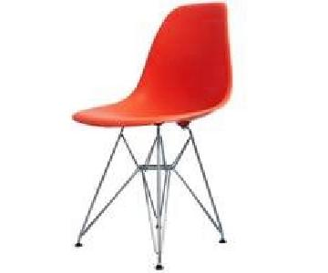 Herman Miller Orange Plastic Wire-Base Side Chair