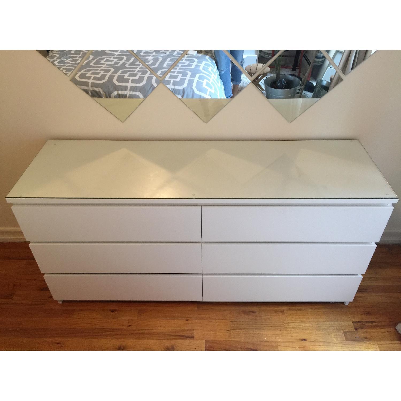 Ikea Malm 6 Drawer Dresser W Glass Top Aptdeco