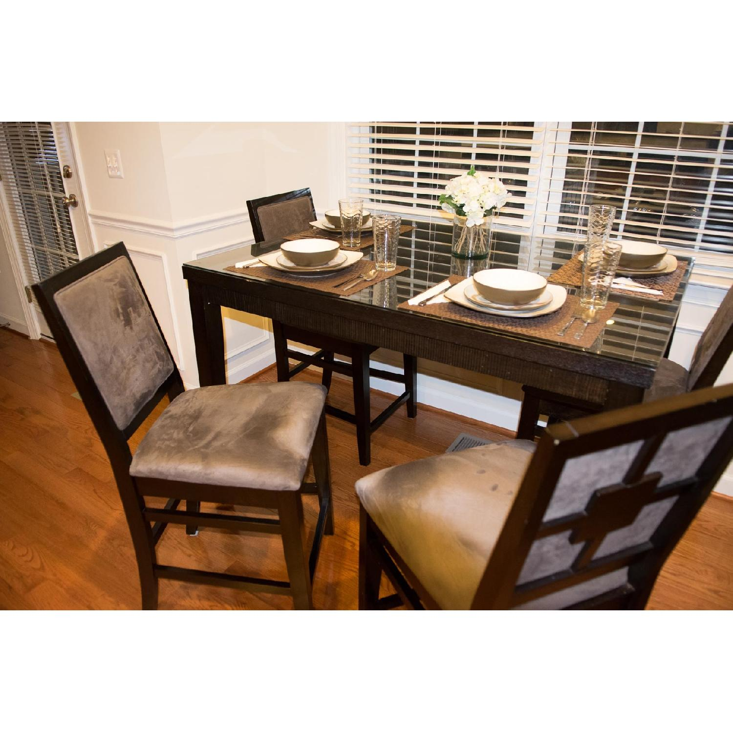 Value City Furniture Espresso High Top Expandable Dining Room Table W 4 Chairs Aptdeco