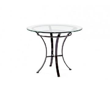 Johnston Casuals Glass Top & Pewter Base Round Dining Table