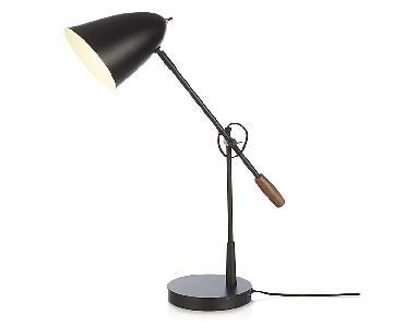Crate & Barrel Morgan Metal Black Desk Lamp w/ USB Port