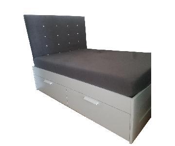 Ikea Brimnes Full Bed Frame w/ Storage & Custom Headboard