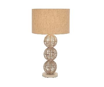 Palu 3-Tiered Wooden Ball Table Lamp w/ White Wash