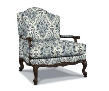 Ethan Allen Harris Chair & Ottoman in Teal w/ Custom Bolster