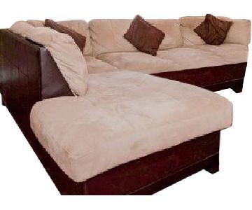 2-Tone Microsuede Sectional Sofa & Ottoman