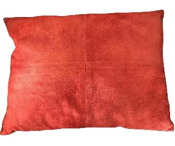 Pier 1 Red Microsuede Decorative Throw Pillow