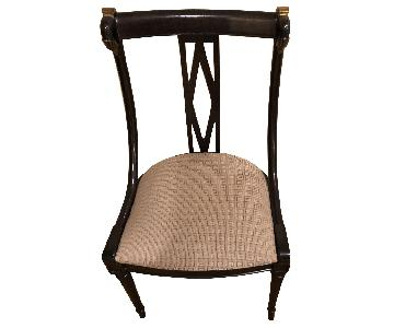 Ebony Upholstered Dining Chairs w/ Gold Accents