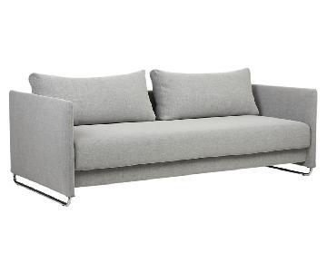 CB2 Tandom Microgrid Grey Sleeper Sofa
