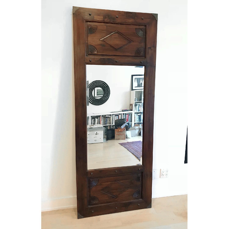 Hand Carved Door Wood Framed Floor Mirror - AptDeco